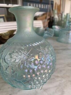 Stunning RARE Northwood Pastel ICE BLUE GRAPE AND CABLE LARGE COLOGNE BOTTLE