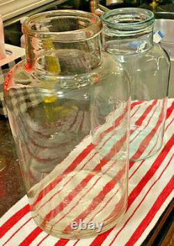 Two (2) Vintage Large Clear Glass Jar/ Bottle laboratory weight/pharmacy 4 & 6 L