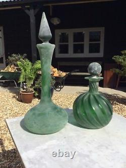 Two Large Heavy 19th Century Green Glass Genie Bottles Decanters Carboy Chemists