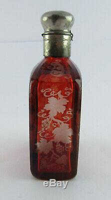 Unusual Large Bohemian Flashed Glass Scent Bottle With Images Of Deer & Grapes