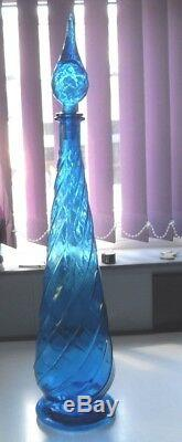VINTAGE 1970s VERY LARGE ITALIAN EMPOLI TURQUOISE SPIRAL GLASS GENIE BOTTLE