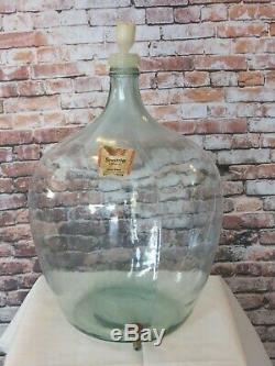 VINTAGE GERMAN GLASS DEMIJOHN WITH SPIGOT FOR WINE MAKING LARGE 24 TALL x 16