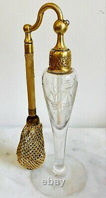 VNTG Art Deco Clear Etched Glass DeVilbiss Perfume Atomizer Perfume Bottle 6.5