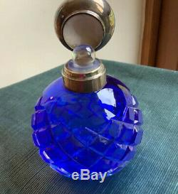 Very Large Antique Sterling Silver Blue Glass Perfume Bottle 1906