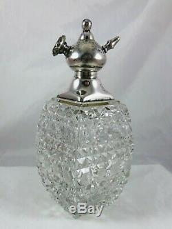 Victorian Large Whiting Sterling Silver & Cut Glass Atomizer Perfume Bottle