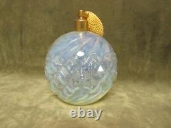 Vintage French Art glass Opalescent 62-D Irice Import Large Round Perfume Bottle