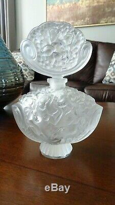Vintage Large Bohemian Czech INGRID Frosted Glass NUDES PERFUME BOTTLE