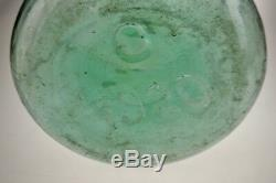 Vintage Large Scale 1920 Aqua Glass Demijohn Wine Bottle with Glass Stopper