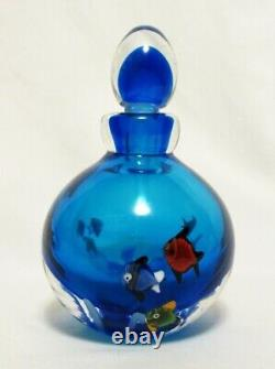 Vintage Murano Italy Large 6 Blue Glass Swimming Fish Perfume Bottle