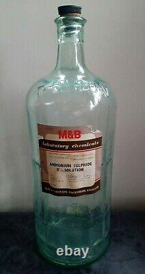 Vintage Very Large Clear Glass Bottle Medical Pharmacy Chemist Apothecary Poison