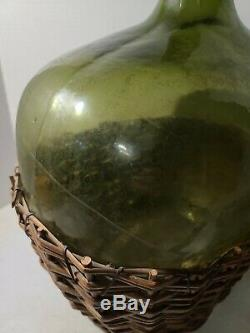 WOW! INCREDIBLE Large Antique GREEN Glass Wine Bottle Jug